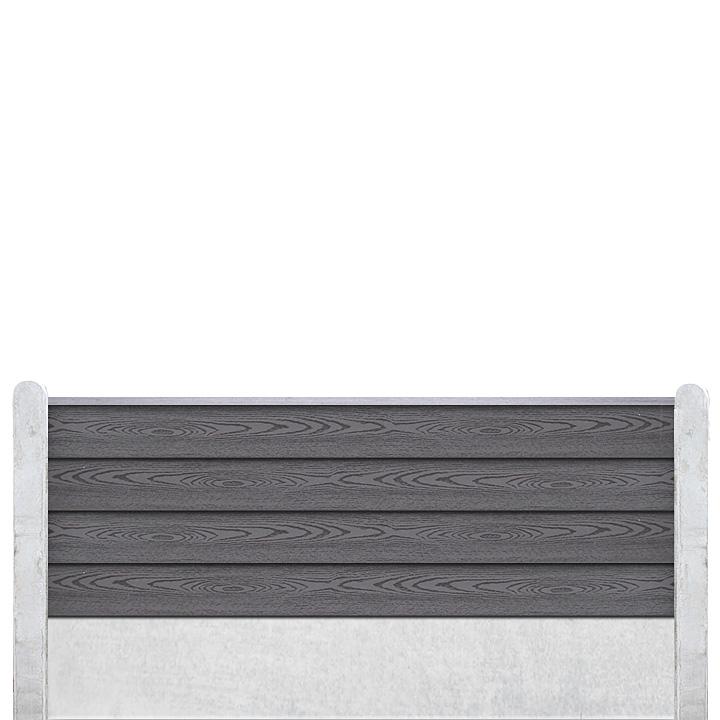 Komposit Hegn XL-Blok Profil - Inkl. Betonstolper - XL Komposit Blokhus profilbrædder: 43 x 165 x 1890 mm Vedligeholdelsesfrit Dansk produceret betonstolper: 10 x 12 / 13 x 13 cm Beton Bundplader: 43 x 300 mm /189 cm Topafdækning: Aluminiums Afdækning FSC Godkendt CE Mærket Højder: 90 / 120 / 150 / 18